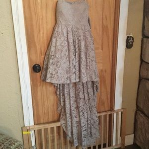 NEW Sequin Hearts taupe lace high low formal dress